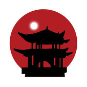 Silhouette of a pagoda on a red sun background — Stock Photo