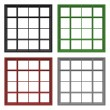 Set of four empty square bookshelfs in black, grey, red and gree — Stock Photo