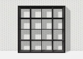 Black empty square bookshelf on white brick wall background — Stock Photo