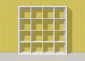 White empty square bookshelf on yellow brick wall background — Stock Photo