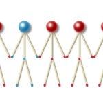 Männlein, hergestellt aus roten Treffern ist einer von ihnen verschiedene — Stockfoto