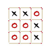 Tick-tack-toe game made of matches — Stock Photo