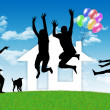 Happy family having a house — Stock Photo