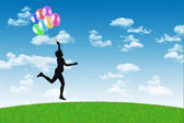 Happy woman running with balloons on a blue sky background — Stock Photo