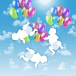 Stock Photo: Newborn triplets flying on colorful balloons in sky