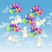 Five white babies flying on colorful balloons in the sky — Stock Photo