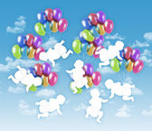 Seven happy babies flying on colorful balloons in the sky — Stock Photo