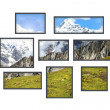 Stock Photo: Several windows on a white wall with mountains landscape