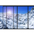 Panoramic modern window snow mountains landscape — Stock Photo