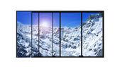 Panoramic modern window snow mountains landscape — Stock Photo