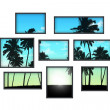 Several windows on white wall with tropical landscape at sunri — Stock Photo #28812697