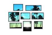 Varias ventanas en una pared blanca con paisaje tropical en sunri — Foto de Stock