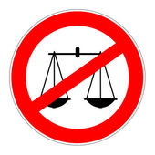 Prohibition sign no justice — Stock Photo