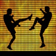 Two man fighting on a fire background — Stok fotoğraf