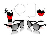 Sun glasses dialogue with cocktails — Stock Photo