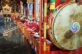 Buddhist monks at the ceremony in the temple — Stock Photo