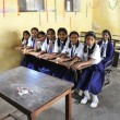 Indian schoolgirls in the classroom — Stock Photo