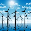 Group of aeolian windmills in perspective silhouette above the w — Stock Photo