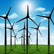 Group of aeolian windmills in perspective — Stock Photo