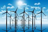 Skupina liparské větrných mlýnů v perspektivě silueta nad w — Stock fotografie