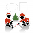 Santa babies waiting for new 2014 year — Stock Photo