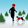 Little boy running with a dog on christmas background — Stock Photo