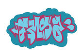 Colored isolated graffiti abstract inscription 1 — Stock fotografie