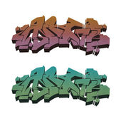 Colored isolated abstract graffiti set 1 — Stockfoto