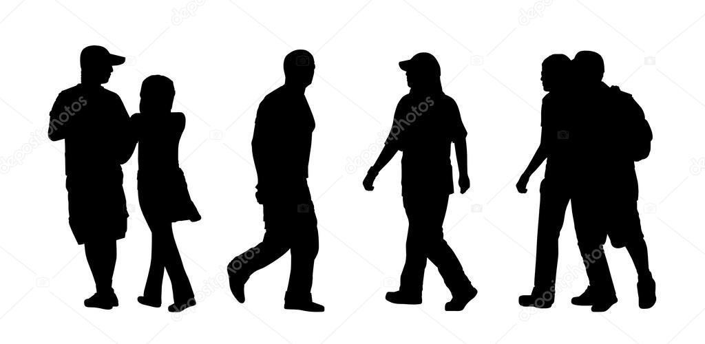 Menschen Gehen Im Freien Silhouetten-Set 4