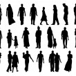Big set of indian people silhouettes — Stock Photo #47942593