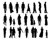 Big set of indian people silhouettes — Stock Photo