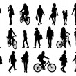 Big set of women walking silhouettes — Stock Photo #48885253