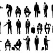 Big set businessmen standing and seated silhouettes — Stock Photo #48885915