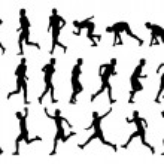 Big set of men running silhouettes — Stock Photo #48886655