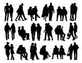 Big set of couples silhouettes — Stock Photo