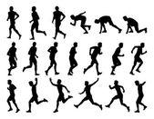 Big set of men running silhouettes — Stock Photo