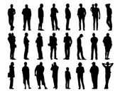 Big set of men standing silhouettes 1 — Stock Photo