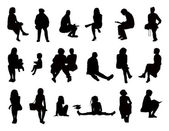 Big set of women seated silhouettes  — Stock Photo