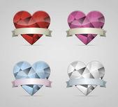 Coração de diamante — Vetor de Stock