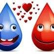 Water drop and drop of blood love — Stock Vector #25094949