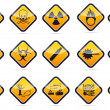 Stockvektor : Danger round corner warning sign set