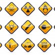 Stock vektor: Danger round corner warning sign set