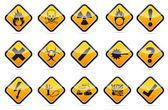 Perigo ronda o jogo de sinal de aviso de canto — Vetor de Stock