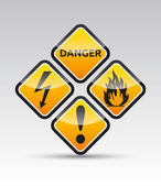 Danger round corner warning sign set — Stock Vector