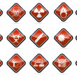 Danger round corner warning sign set - Stock Vector