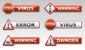 Danger virus warning icon — Stock Vector