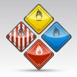 Stock Vector: Danger round corner warning sign set