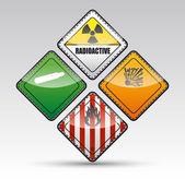 Danger round corner warning sign set — Stock Vector