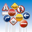 Traffic sign set, collection — Vettoriale Stock