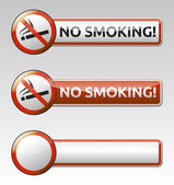 No smoking prohibition sign banner collection — Stock Vector
